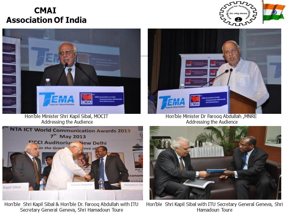 Hon'ble Minister Shri Kapil Sibal, MOCIT Addressing the Audience Hon'ble Minister Dr Farooq Abdullah,MNRE Addressing the Audience Hon'ble Shri Kapil Sibal & Hon'ble Dr.