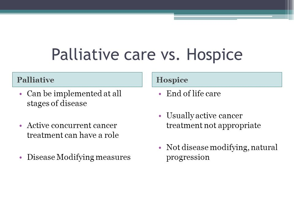 Palliative care vs.