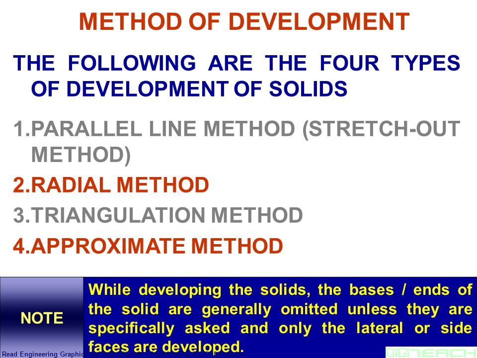 THE FOLLOWING ARE THE FOUR TYPES OF DEVELOPMENT OF SOLIDS 1.PARALLEL LINE METHOD (STRETCH-OUT METHOD) 2.RADIAL METHOD 3.TRIANGULATION METHOD 4.APPROXI