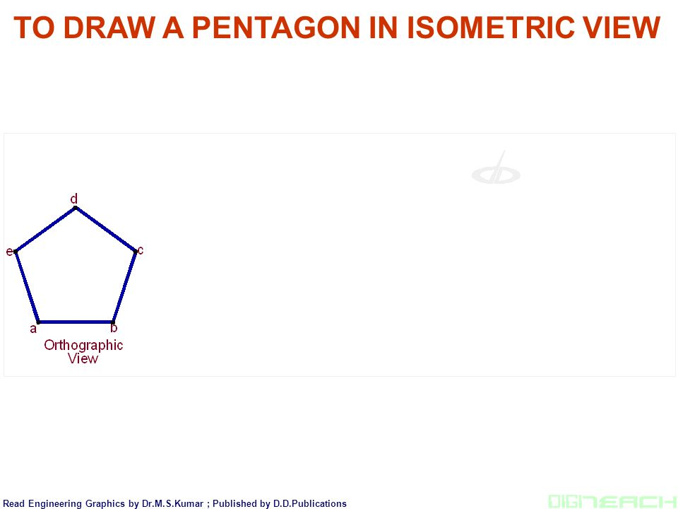TO DRAW A PENTAGON IN ISOMETRIC VIEW Read Engineering Graphics by Dr.M.S.Kumar ; Published by D.D.Publications