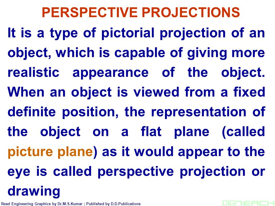It is a type of pictorial projection of an object, which is capable of giving more realistic appearance of the object. When an object is viewed from a