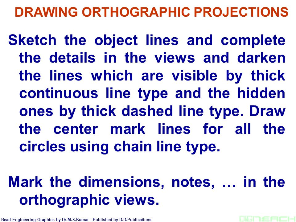 Sketch the object lines and complete the details in the views and darken the lines which are visible by thick continuous line type and the hidden ones