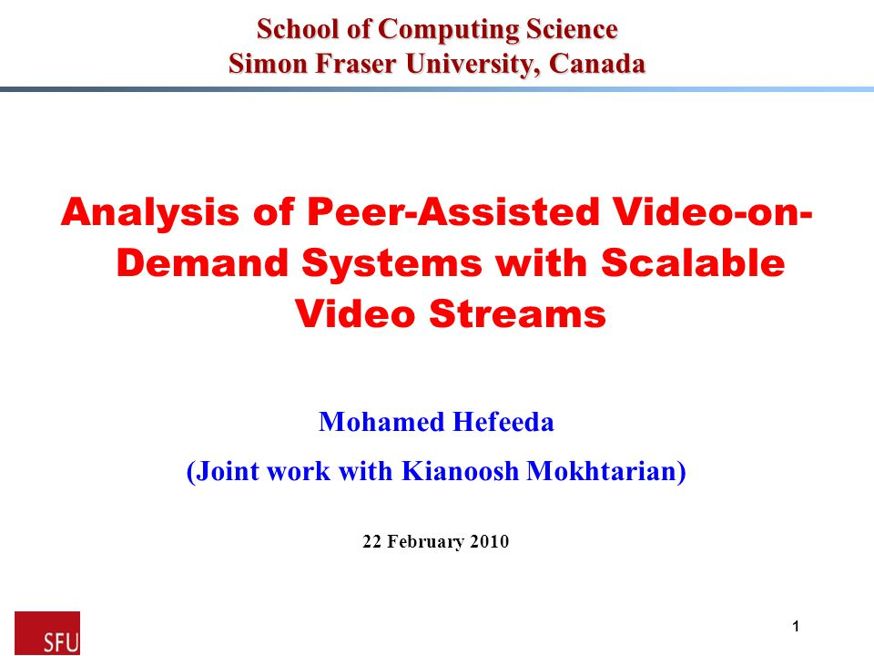 Mohamed Hefeeda General Analytical Model: Overview  High-level procedure -Step 1: Estimate the capacity that peers in P s can serve to others (i.e., P 1,…,s-1 ) as a function of the capacity served to P s -Step 2: Employ this function for s = S, S-1, …, 1 to analyze the distribution of the complete video 12