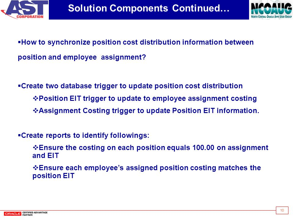 10 Solution Components Continued…  How to synchronize position cost distribution information between position and employee assignment.