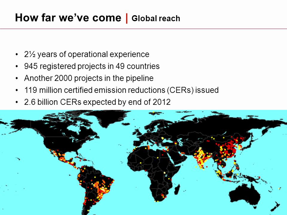 3 How far we've come | Global reach 2½ years of operational experience 945 registered projects in 49 countries Another 2000 projects in the pipeline 119 million certified emission reductions (CERs) issued 2.6 billion CERs expected by end of 2012