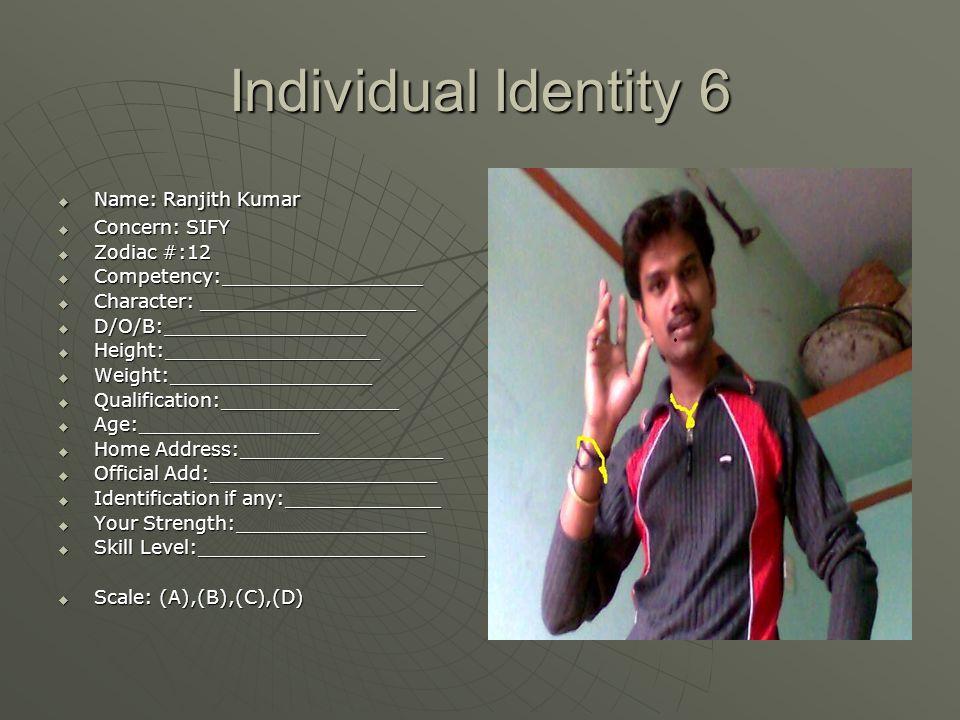 Individual Identity 6  Name: Ranjith Kumar  Concern: SIFY  Zodiac #:12  Competency:_________________  Character: __________________  D/O/B:_____