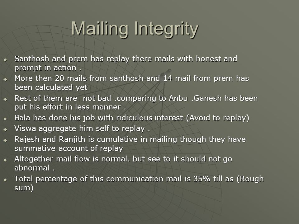 Mailing Integrity  Santhosh and prem has replay there mails with honest and prompt in action.