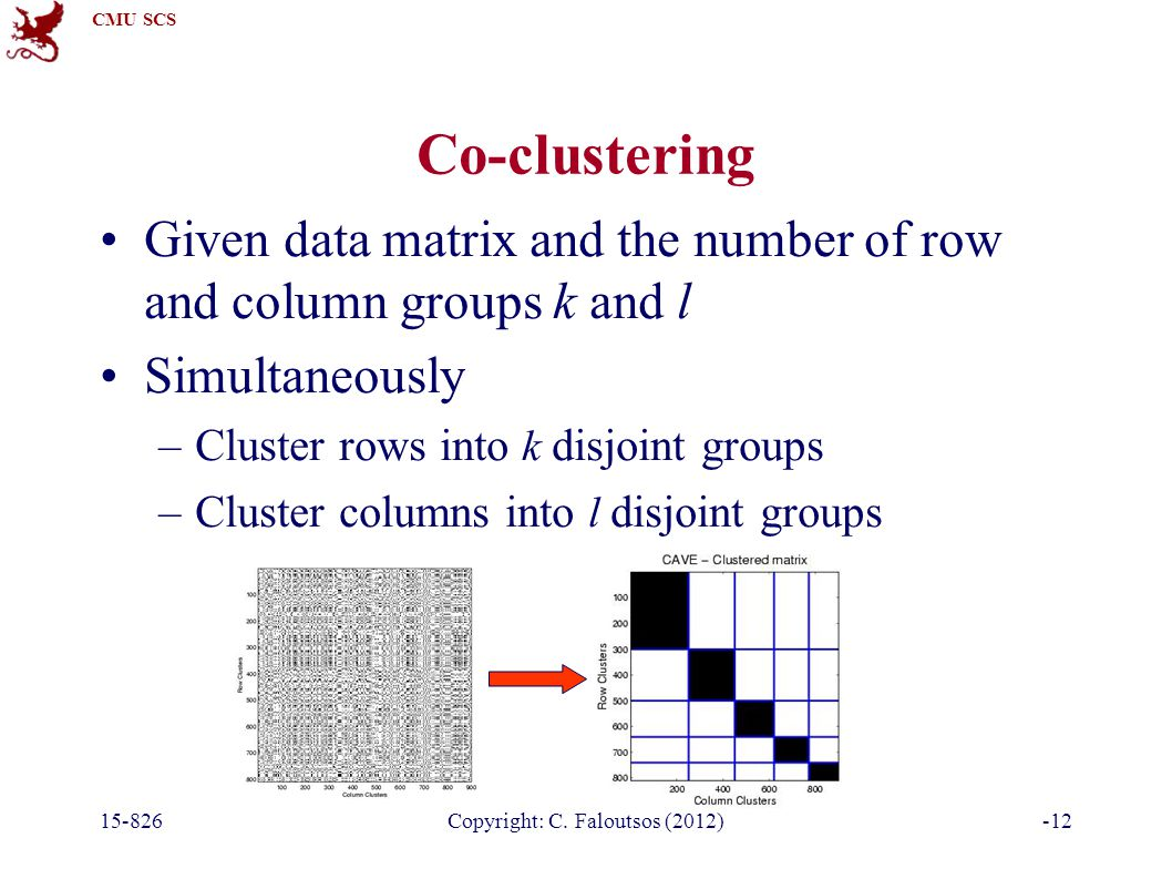 CMU SCS 15-826Copyright: C. Faloutsos (2012)-12 Co-clustering Given data matrix and the number of row and column groups k and l Simultaneously –Cluste