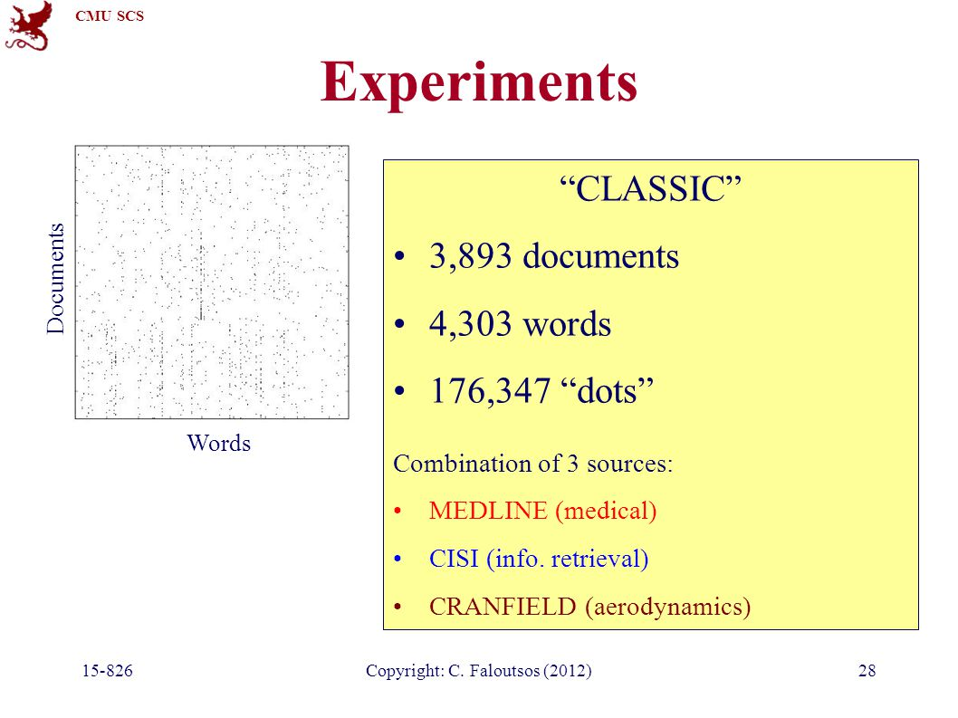 "CMU SCS 15-826Copyright: C. Faloutsos (2012)28 Experiments ""CLASSIC"" 3,893 documents 4,303 words 176,347 ""dots"" Combination of 3 sources: MEDLINE (med"