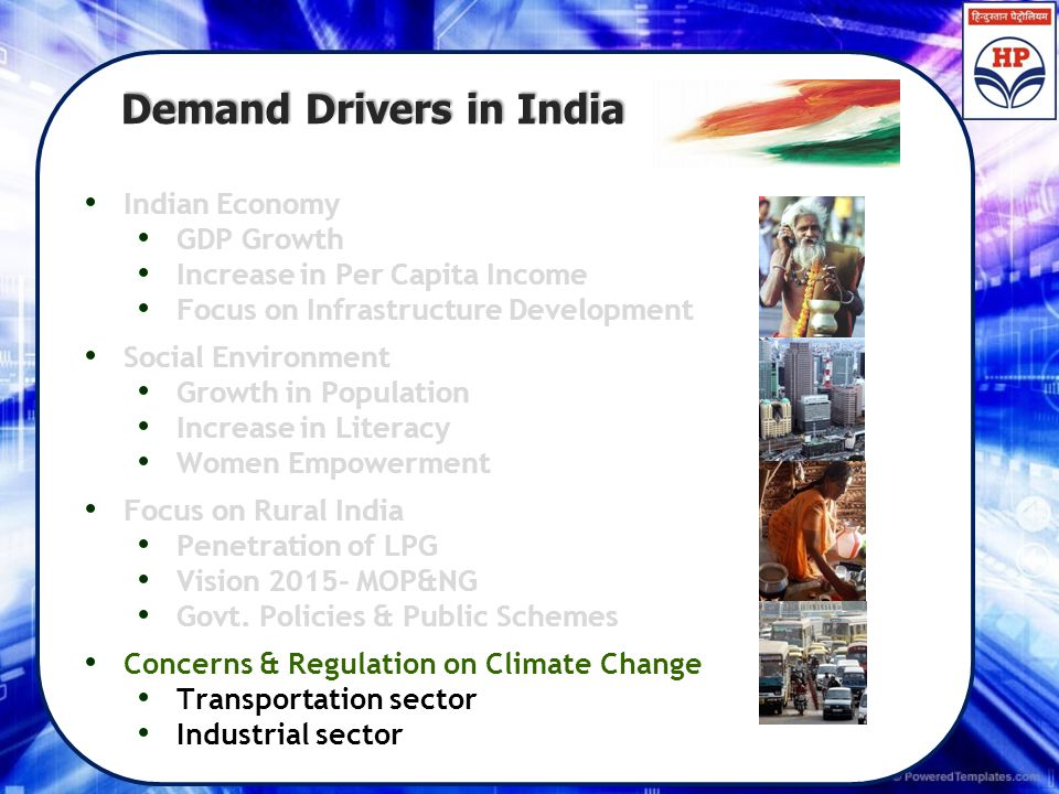 Demand Drivers in India Demand Drivers in India Indian Economy GDP Growth Increase in Per Capita Income Focus on Infrastructure Development Social Env