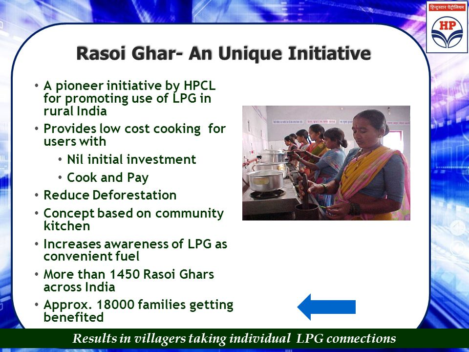Rasoi Ghar- An Unique Initiative A pioneer initiative by HPCL for promoting use of LPG in rural India Provides low cost cooking for users with Nil ini