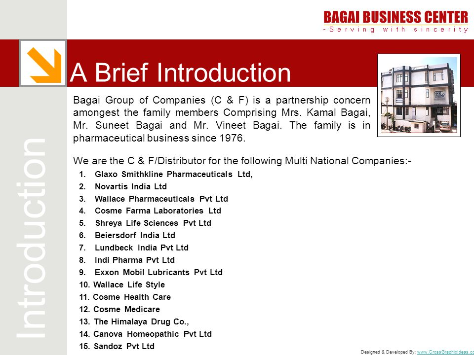 Designed & Developed By: www.CrossGraphicIdeas.comwww.CrossGraphicIdeas.com A Brief Introduction Bagai Group of Companies (C & F) is a partnership con