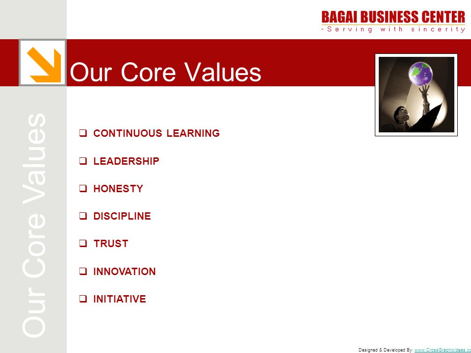 Designed & Developed By: www.CrossGraphicIdeas.comwww.CrossGraphicIdeas.com Our Core Values  CONTINUOUS LEARNING  LEADERSHIP  HONESTY  DISCIPLINE