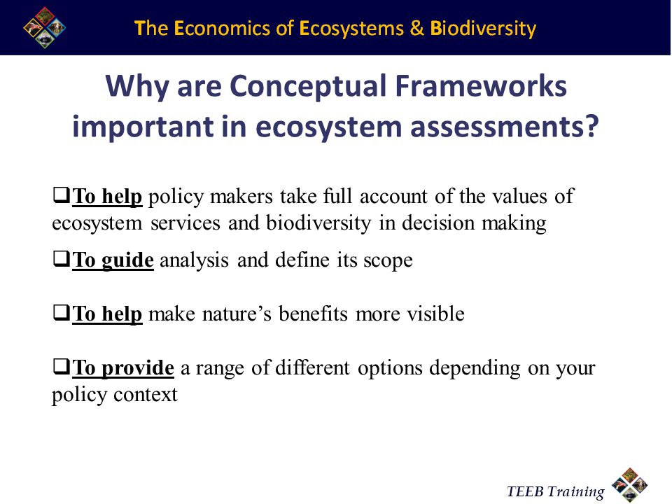 TEEB Training Why are Conceptual Frameworks important in ecosystem assessments?  To help policy makers take full account of the values of ecosystem s