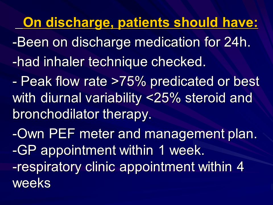 On discharge, patients should have: On discharge, patients should have: -Been on discharge medication for 24h.