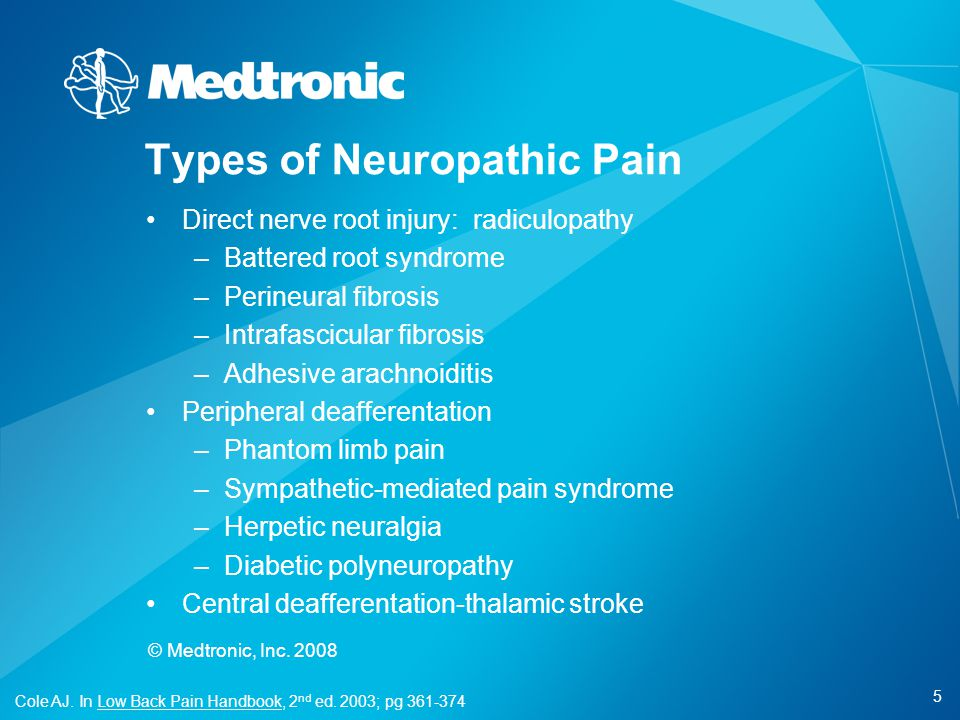 5 © Medtronic, Inc. 2008 Types of Neuropathic Pain Direct nerve root injury: radiculopathy –Battered root syndrome –Perineural fibrosis –Intrafascicul