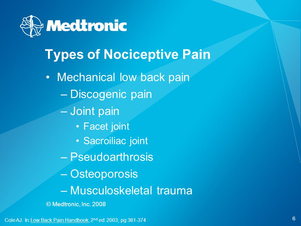6 © Medtronic, Inc. 2008 Mechanical low back pain –Discogenic pain –Joint pain Facet joint Sacroiliac joint –Pseudoarthrosis –Osteoporosis –Musculoske