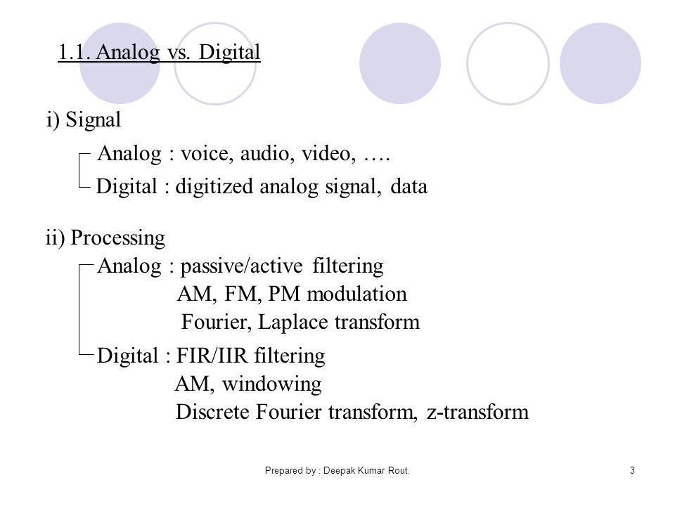 Prepared by : Deepak Kumar Rout.3 1.1. Analog vs. Digital i) Signal Analog : voice, audio, video, …. Digital : digitized analog signal, data ii) Proce