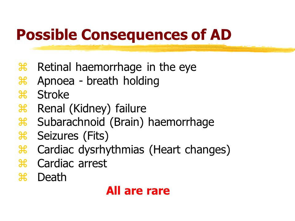 Possible Consequences of AD zRetinal haemorrhage in the eye zApnoea - breath holding zStroke zRenal (Kidney) failure zSubarachnoid (Brain) haemorrhage