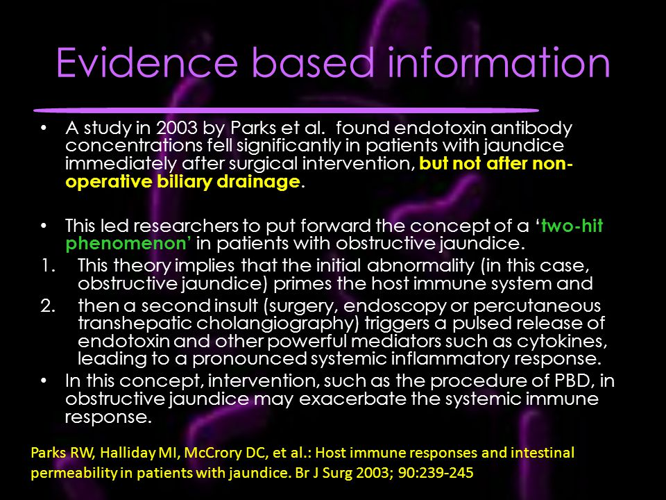 Evidence based information A study in 2003 by Parks et al.
