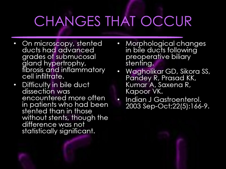 CHANGES THAT OCCUR On microscopy, stented ducts had advanced grades of submucosal gland hypertrophy, fibrosis and inflammatory cell infiltrate.