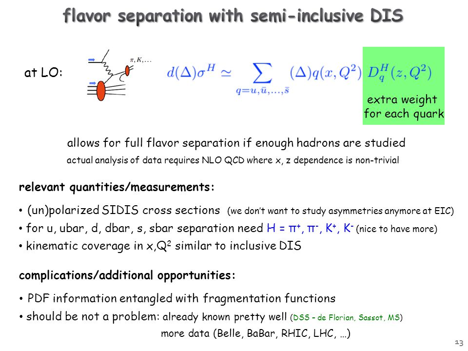 at LO: extra weight for each quark actual analysis of data requires NLO QCD where x, z dependence is non-trivial allows for full flavor separation if enough hadrons are studied relevant quantities/measurements: (un)polarized SIDIS cross sections (we don't want to study asymmetries anymore at EIC) for u, ubar, d, dbar, s, sbar separation need H = π +, π -, K +, K - (nice to have more) kinematic coverage in x,Q 2 similar to inclusive DIS complications/additional opportunities: PDF information entangled with fragmentation functions should be not a problem: already known pretty well (DSS – de Florian, Sassot, MS) more data (Belle, BaBar, RHIC, LHC, …) 13