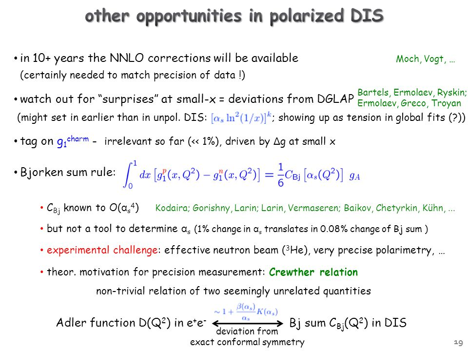 Moch, Vogt, … in 10+ years the NNLO corrections will be available (certainly needed to match precision of data !) watch out for surprises at small-x = deviations from DGLAP (might set in earlier than in unpol.
