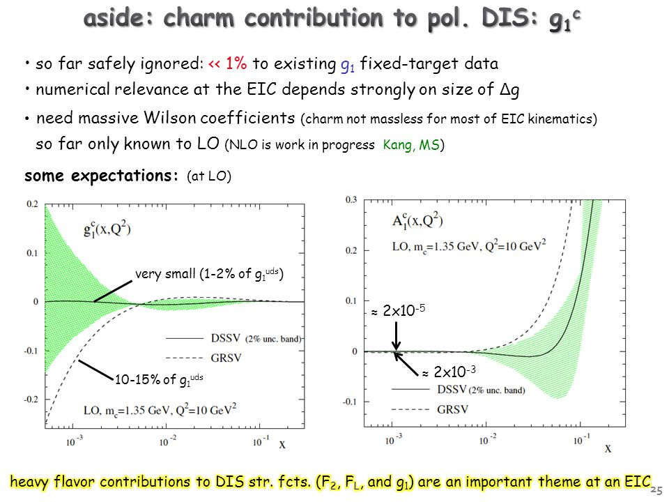 so far safely ignored: << 1% to existing g 1 fixed-target data numerical relevance at the EIC depends strongly on size of Δ g need massive Wilson coefficients (charm not massless for most of EIC kinematics) so far only known to LO (NLO is work in progress Kang, MS) some expectations: (at LO) ≈ 2x10 -3 ≈ 2x10 -5 very small (1-2% of g 1 uds ) 10-15% of g 1 uds 25