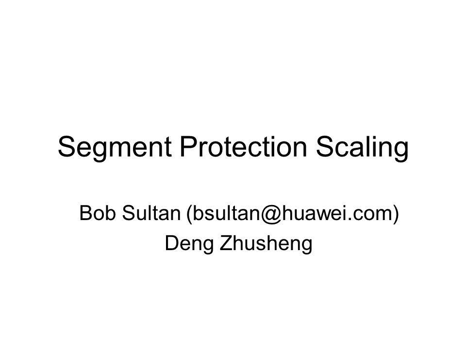 Segment Protection Scaling Bob Sultan (bsultan@huawei.com) Deng Zhusheng