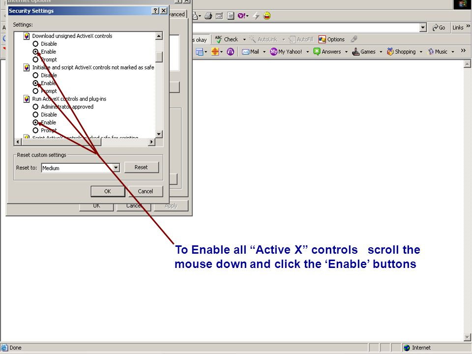 To Enable all Active X controls scroll the mouse down and click the 'Enable' buttons