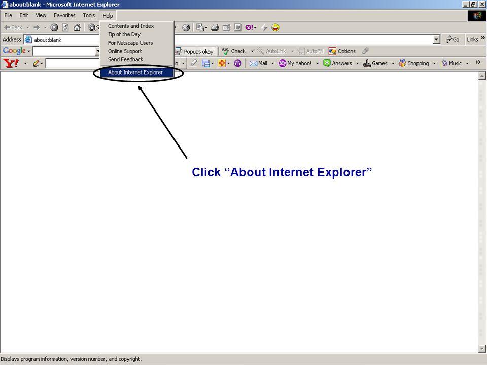 Click About Internet Explorer