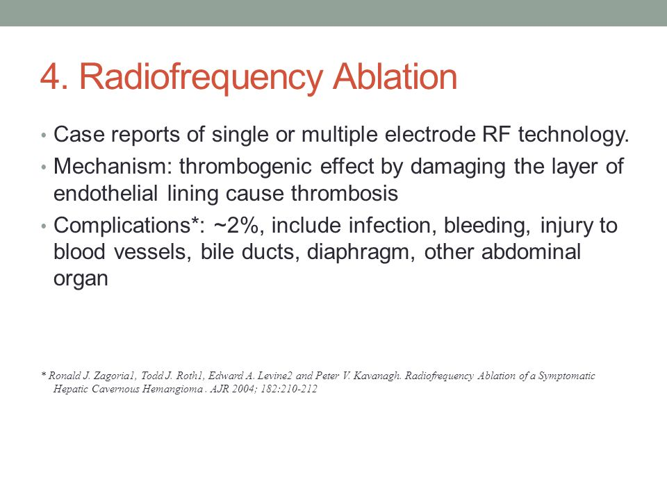 4. Radiofrequency Ablation Case reports of single or multiple electrode RF technology.