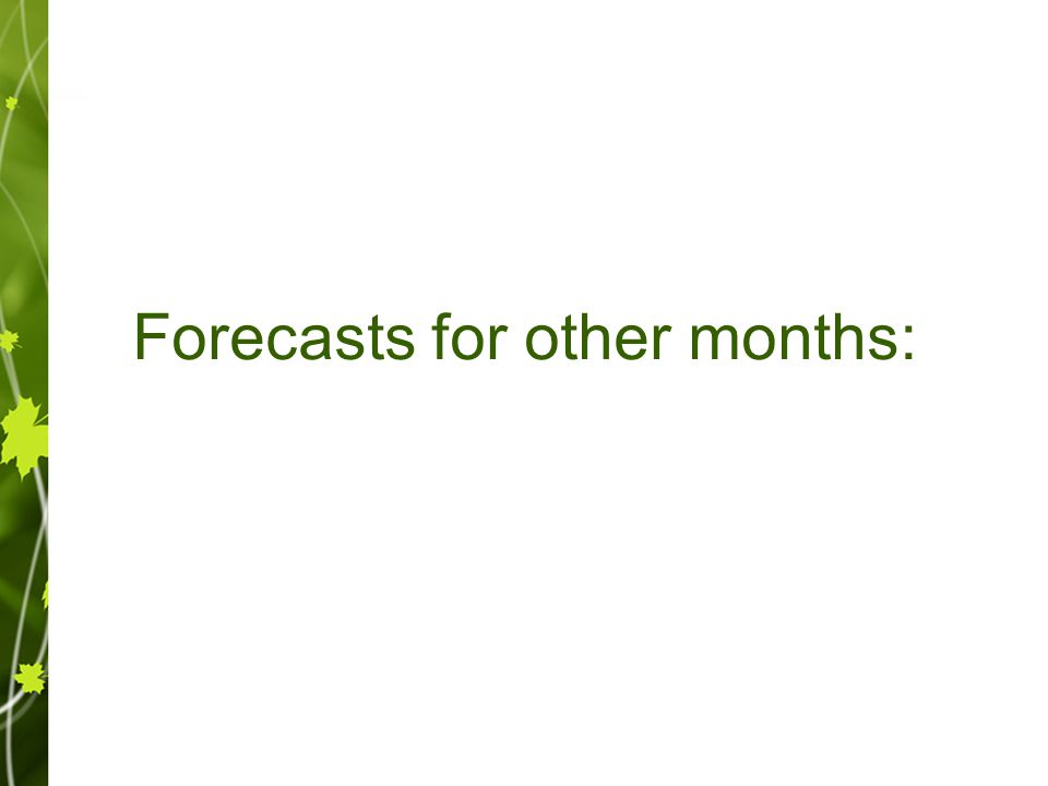 Forecasts for other months: