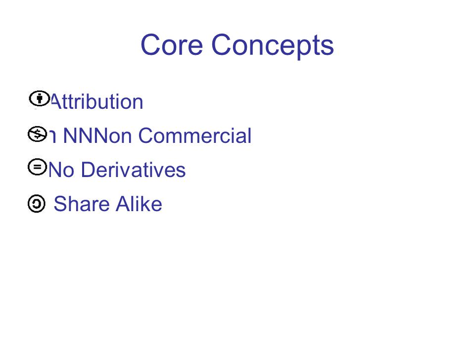 Core Concepts b Attribution N n NNNon Commercial d No Derivatives a Share Alike