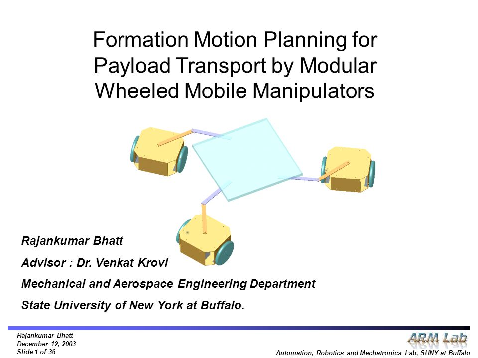 Rajankumar Bhatt December 12, 2003 Slide 1 of 36 Automation, Robotics and Mechatronics Lab, SUNY at Buffalo Formation Motion Planning for Payload Tran