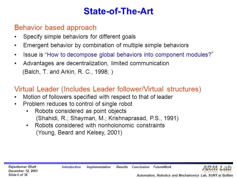Rajankumar Bhatt December 12, 2003 Slide 5 of 36 Automation, Robotics and Mechatronics Lab, SUNY at Buffalo State-of-The-Art Behavior based approach Specify simple behaviors for different goals Emergent behavior by combination of multiple simple behaviors Issue is How to decompose global behaviors into component modules.