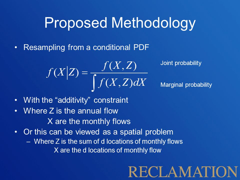 """Proposed Methodology Resampling from a conditional PDF With the """"additivity"""" constraint Where Z is the annual flow X are the monthly flows Or this can"""