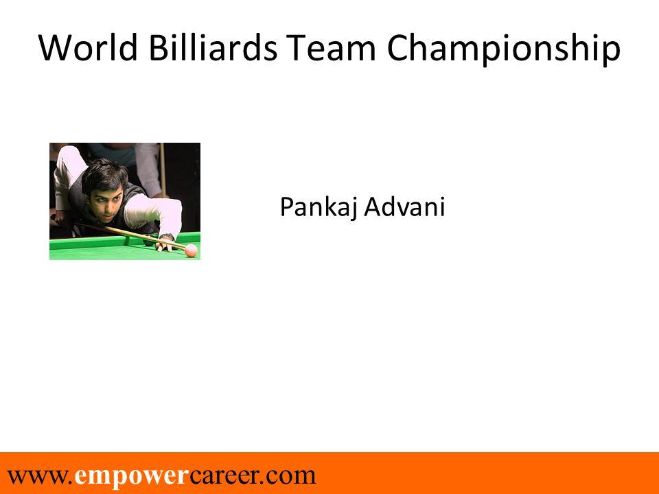 www.empowercareer.com World Billiards Team Championship Pankaj Advani