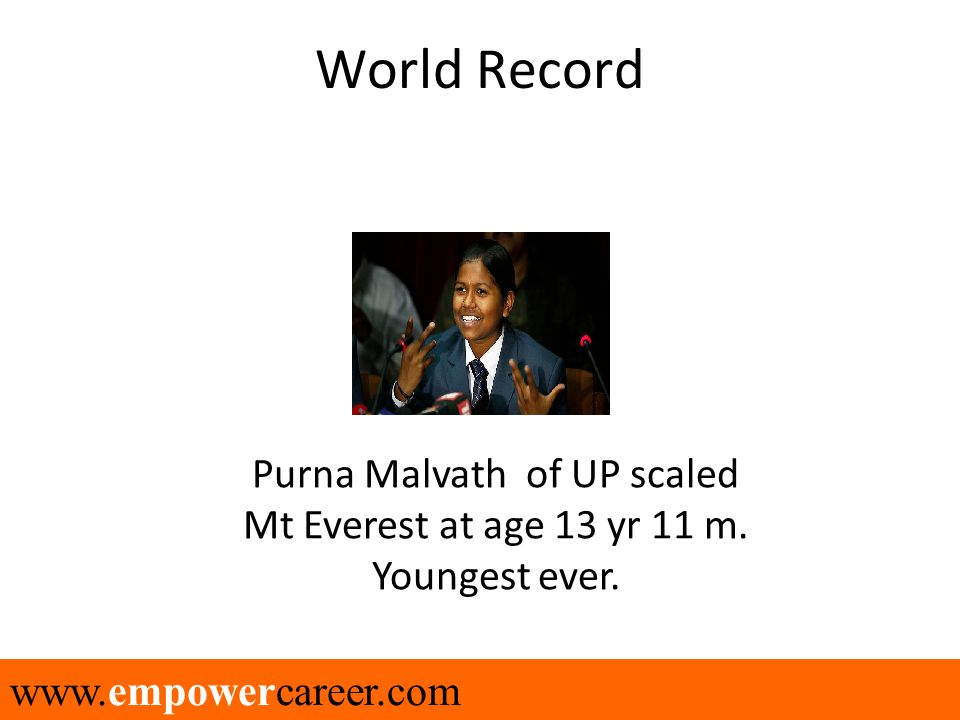 www.empowercareer.com World Record Purna Malvath of UP scaled Mt Everest at age 13 yr 11 m. Youngest ever.