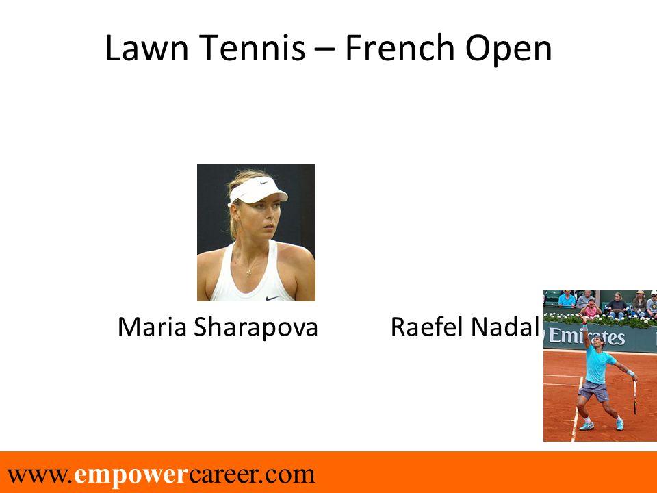 www.empowercareer.com Lawn Tennis – French Open Maria Sharapova Raefel Nadal