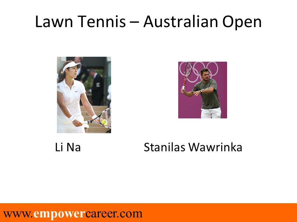 www.empowercareer.com Lawn Tennis – Australian Open Li Na Stanilas Wawrinka