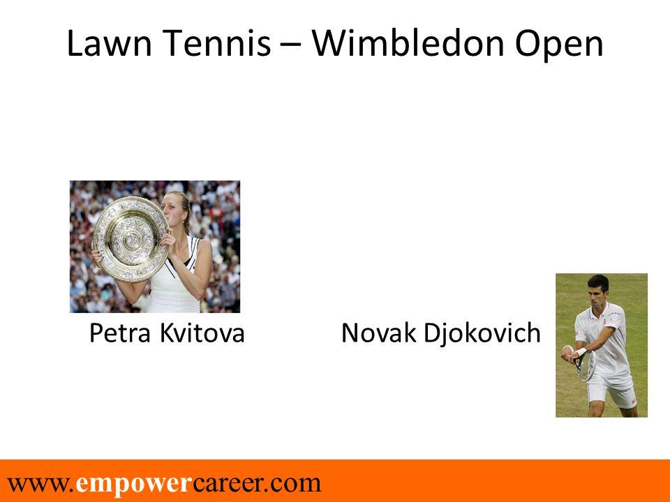 www.empowercareer.com Lawn Tennis – Wimbledon Open Petra Kvitova Novak Djokovich
