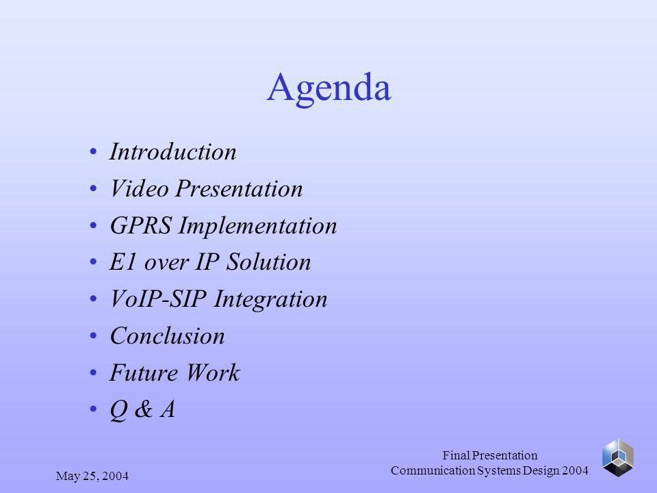 May 25, 2004 Final Presentation Communication Systems Design 2004 Conclusion - Rajkrishna Srinivasan