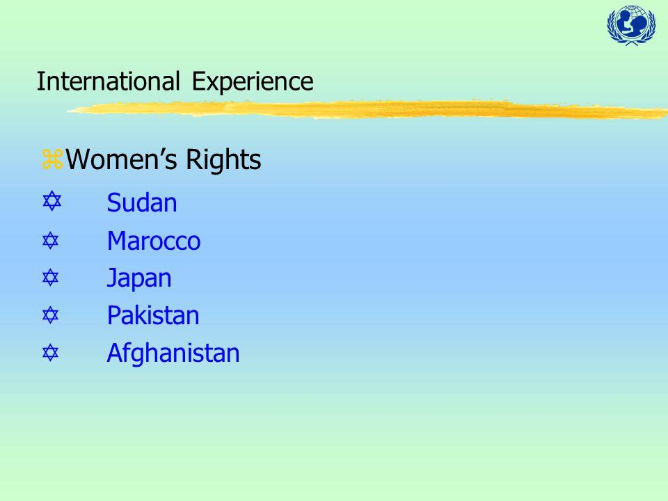 International Experience zWomen's Rights Y Sudan YMarocco YJapan YPakistan YAfghanistan