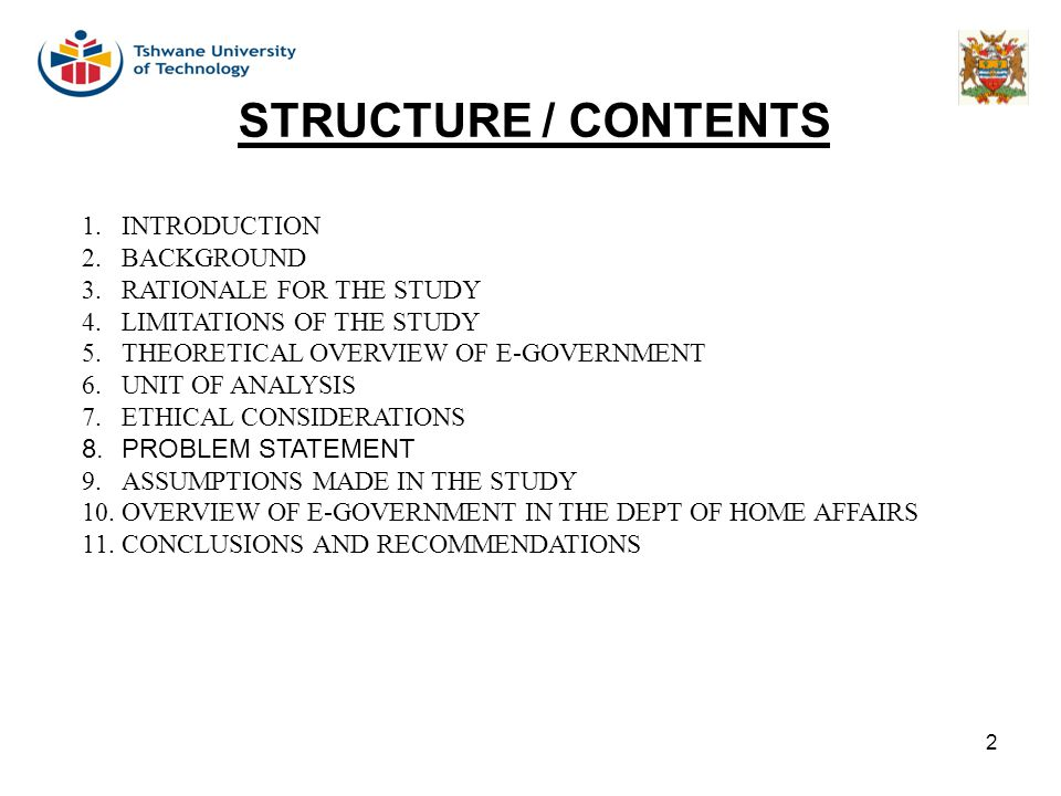 2 STRUCTURE / CONTENTS 1.INTRODUCTION 2.BACKGROUND 3.RATIONALE FOR THE STUDY 4.LIMITATIONS OF THE STUDY 5.THEORETICAL OVERVIEW OF E-GOVERNMENT 6.UNIT