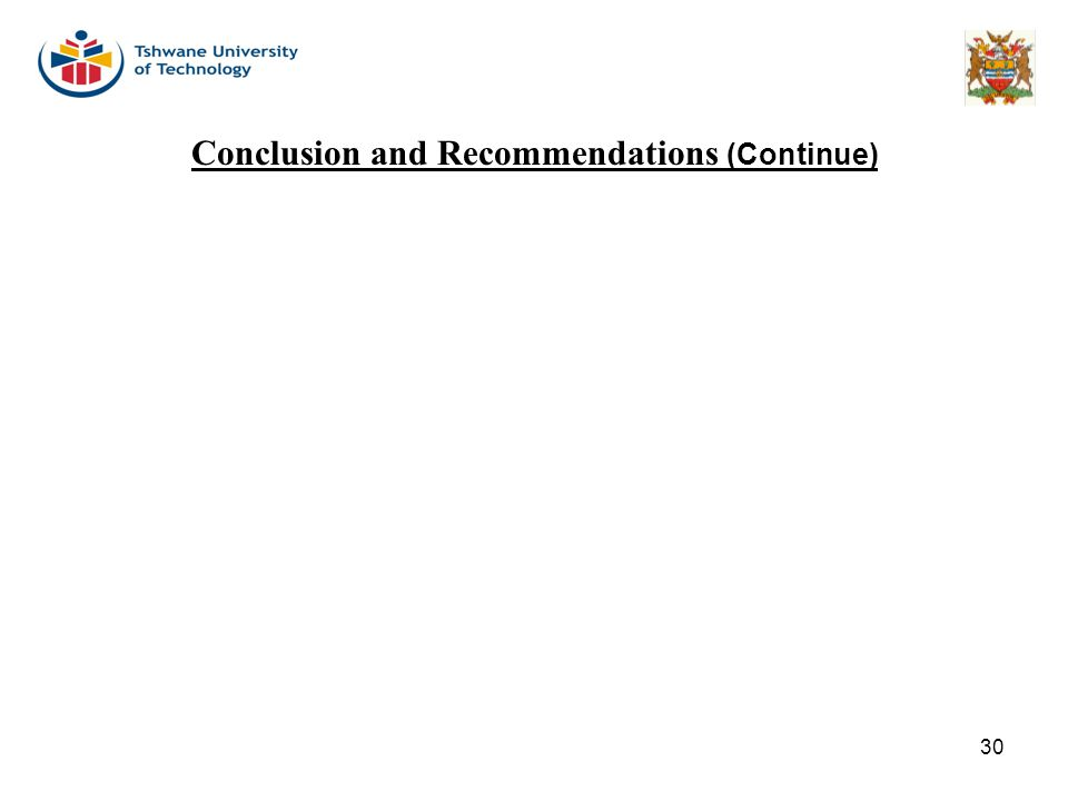 30 Conclusion and Recommendations (Continue)