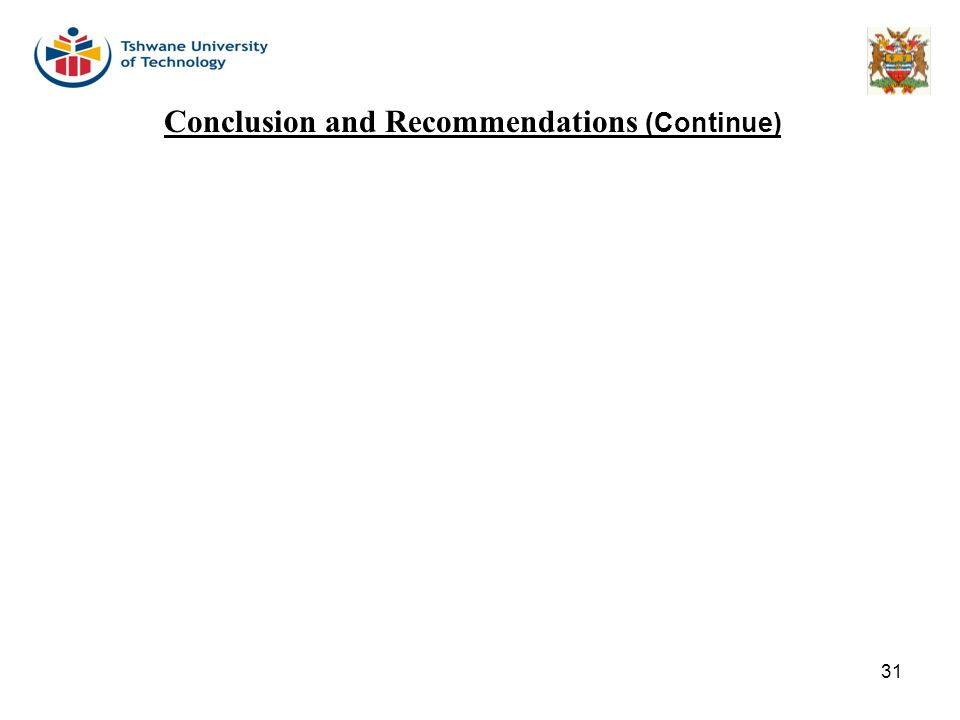 31 Conclusion and Recommendations (Continue)