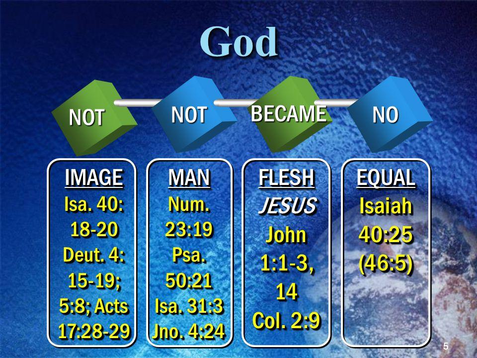5GodGodNOT NOT BECAME NO IMAGE Isa.40: 18-20 Deut.