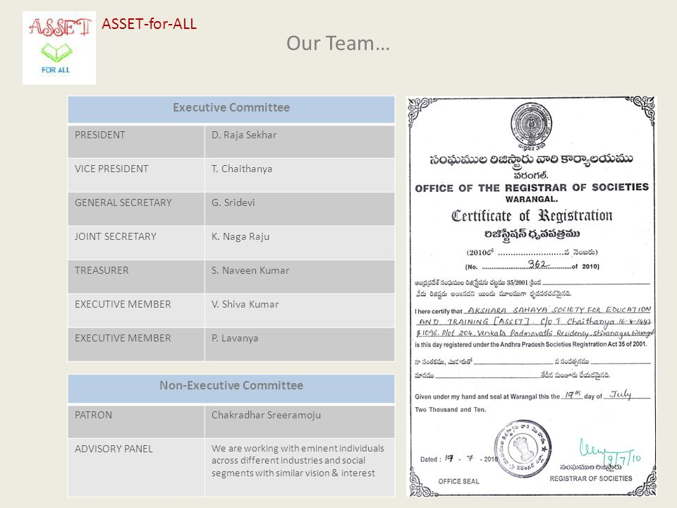 Our Team… ASSET-for-ALL Executive Committee PRESIDENTD.