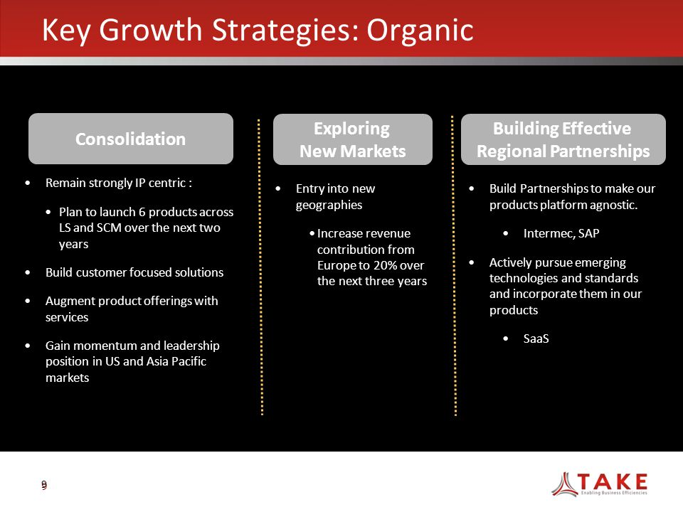 9 e Key Growth Strategies: Organic 9 Consolidation Exploring New Markets Building Effective Regional Partnerships Remain strongly IP centric : Plan to